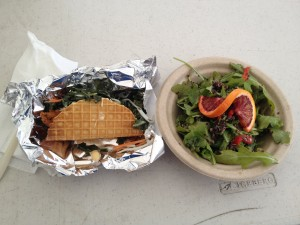 Brunch.bou.tique quinoa salad and chicken and waffle taco