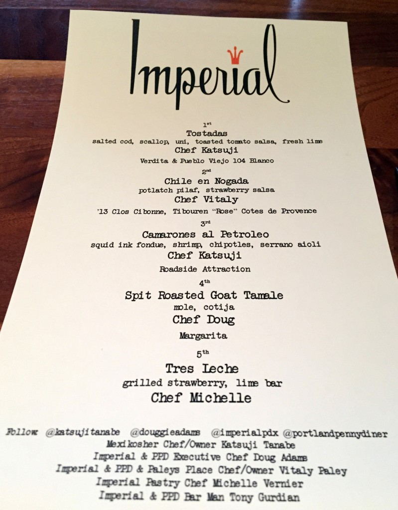 Imperial Cinco de Mayo Menu