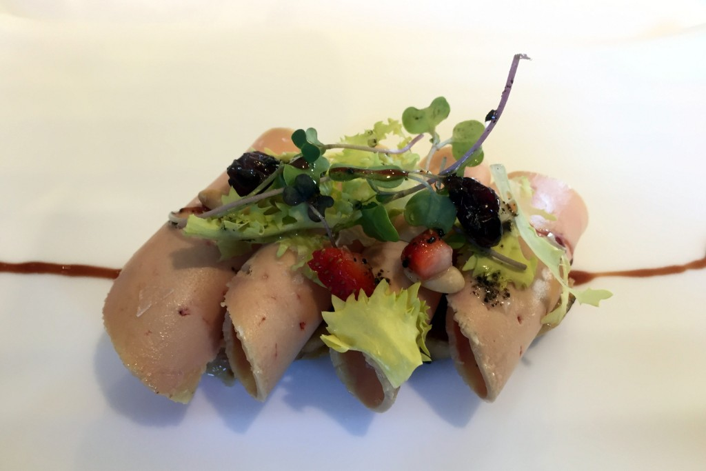 Can Jubany - foie gras with salad and fruit on cracker