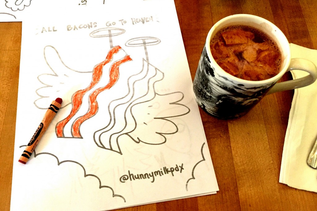 Hunnymilk coloring sheet and cocoa
