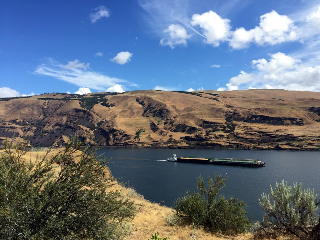 Columbia River with barge