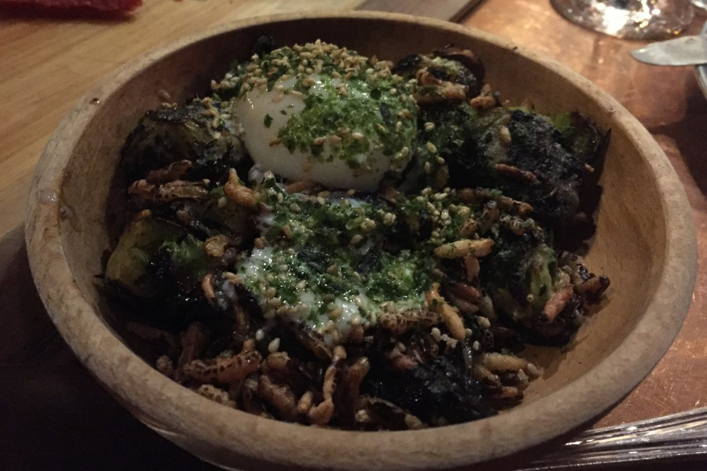 Charred Brussels, fried wild rice, soft egg, young ginger