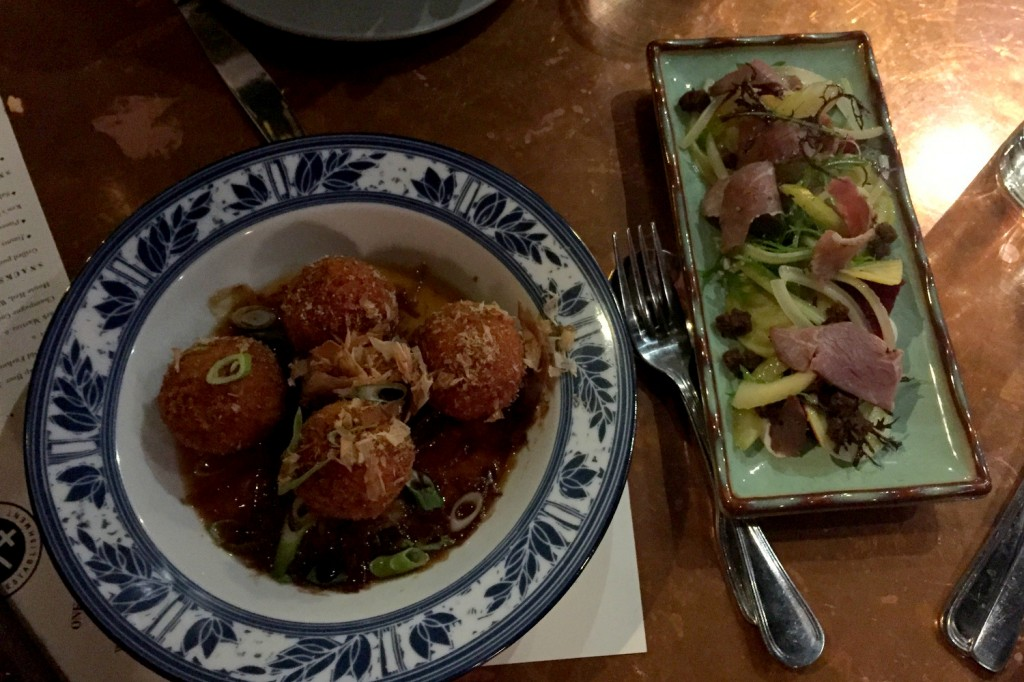 Salt cod fritters and lamb pastrami with beets