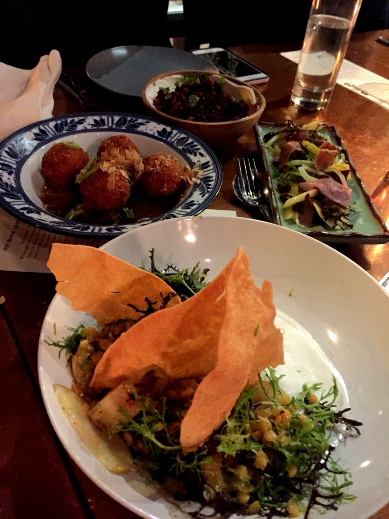 Kiyokawa pear salad, curried lentils, yogurt, pistachio, papadam